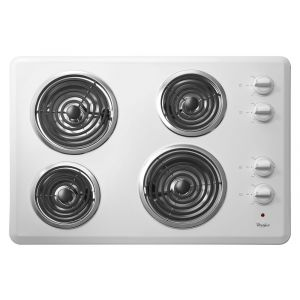 """WHIRLPOOL WCC31430AW - 30"""" Electric Cooktop with Dishwasher-Safe Knobs"""
