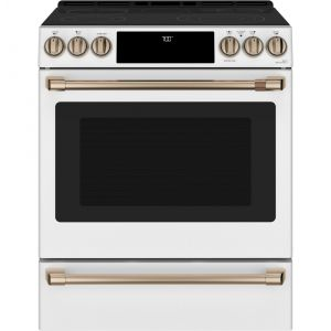 """CAFE CES700P4MW2 - Caf(eback) 30"""" Slide-In Front Control Radiant and Convection Range with Warming Drawer"""