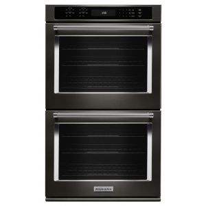 """KITCHENAID KODE507EBS - 27"""" Double Wall Oven with Even-Heat True Convection - Black Stainless Steel with PrintShield(TM) Finish"""