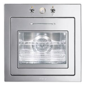 """SMEG FU675 - 60CM (approx 24"""") """"Piano Design"""" Thermo-ventilated Electric Multifunction Oven Polished Stainless Steel"""