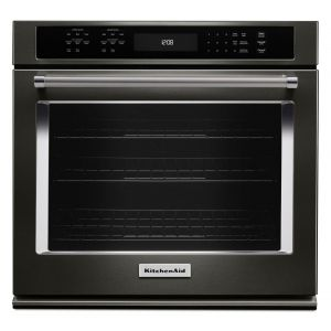 """KITCHENAID KOSE500EBS - 30"""" Single Wall Oven with Even-Heat True Convection - Black Stainless Steel with PrintShield(TM) Finish"""