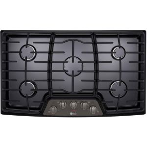 """LG LCG3611BD 36"""" Gas Cooktop with 5 Burners, Black Stainless Steel"""