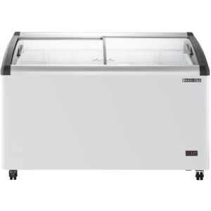 """MAXX Ice MXF54CHC-6 54"""" Curved Glass Display Chest Freezer with 9.96 cu. ft. Capacity in White"""