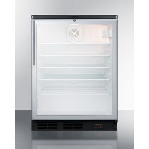 SUMMIT SCR600BGLBIDTPUBHV - Commercial Glass Door Built-in Craft Beer and Wine Refrigerator With Digital Thermostat, Black Cabinet, Stainless Steel Handle, and Lock