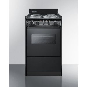 "SUMMIT TEM110CW - 20"" Wide Electric Range In Black With Oven Window, Interior Light, and Lower Storage Compartment"