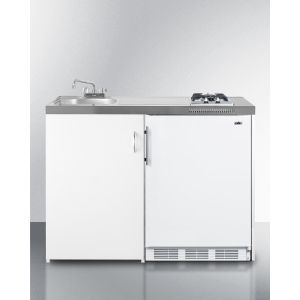 """SUMMIT C48GAS - 48"""" Wide All-in-one Kitchenette With 2-burner Gas Cooktop, Cycle Defrost Refrigerator-freezer, Sink, and Storage Cabinet"""