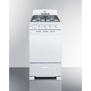 "SUMMIT RG200WS - 20"" Wide Gas Range In White With Sealed Burners; Replaces Rg200w"