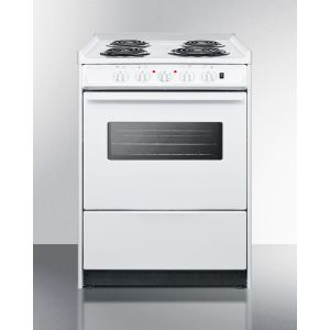 """SUMMIT WEM610RW - 24"""" Wide Slide-in Electric Range In White With Oven Window, Light, and Lower Storage Compartment; Replaces Wem619rw/wem610wrt"""