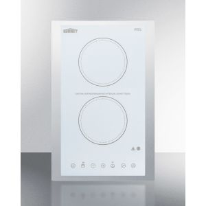 """SUMMIT CR2B15T2WTK15 - 115v 2-burner Cooktop In White Ceramic Schott Glass With Digital Touch Controls and Stainless Steel Frame To Allow Installation In 15"""" Wide Counter Cutouts"""""""
