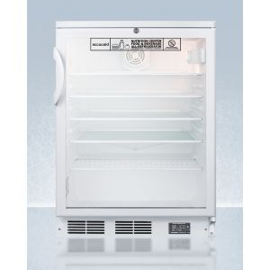 SUMMIT SCR600GLNZ - Commercially Approved Nutrition Center Series Glass Door All-refrigerator for Freestanding Use, With Front Lock and Digital Temperature Display
