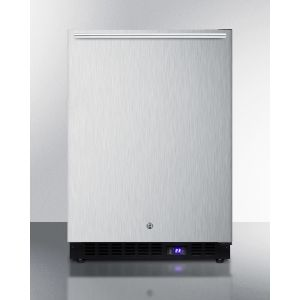 SUMMIT SPFF51OSCSSHH - Frost-free Outdoor All-freezer In Complete Stainless Steel, W/digital Thermostat, LED Lighting, Horizontal Handle, and Lock; Built-in or Freestanding
