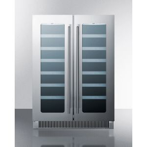SUMMIT CLFD24WC - French Door Dual Zone Wine Cellar for Built-in or Freestanding Use, With Seamless Ss Trimmed Low-e Glass Doors