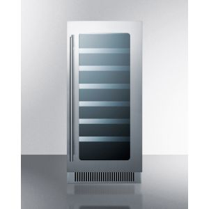 """SUMMIT CL15WC - 15"""" Wide Built-in Wine Cellar With Seamless Stainless Steel Trimmed Low-e Glass Door"""