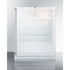 SUMMIT SCR600GLBISHADA - Commercially Listed ADA Compliant Built-in Undercounter Beverage Center With White Cabinet, Glass Door, Full-length Stainless Steel Towel Bar Handle, and Lock