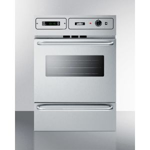 """SUMMIT TEM788BKW - Stainless Steel 220v Electric Wall Oven With Digital Clock/timer and Oven Window; for Cutouts 22 3/8"""" Wide By 34 1/8"""" High, With Stainless Steel Manifold"""