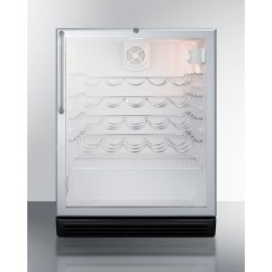 SUMMIT SWC6GBLBITBADA - ADA Compliant, Commercially Approved Wine Cellar for Built-in Undercounter Use, With Glass Door, Black Cabinet, Towel Bar Handle and Lock