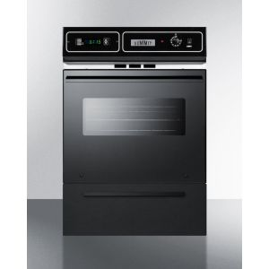 """SUMMIT TTM7212KW - Gas Wall Oven In Black Finish With Electronic Ignition, Digital Clock/timer, and Oven Window for Cutouts 22 3/8"""" Wide By 34 1/8"""" High"""