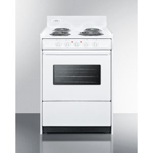 """SUMMIT WEM610W - 24"""" Wide Electric Range In White With Oven Window, Interior Light, and Lower Storage Compartment"""