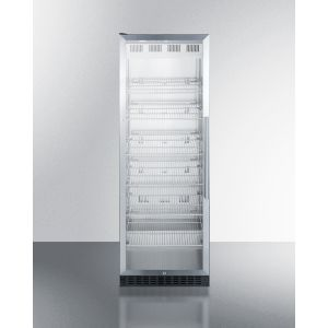 SUMMIT SCR1401LHCSS - Full-size Commercial Beverage Center With Stainless Steel Interior, Self-closing Glass Door, Self-closing Glass Door With A Left Hand Swing, and Stainless Steel Wrapped Cabinet