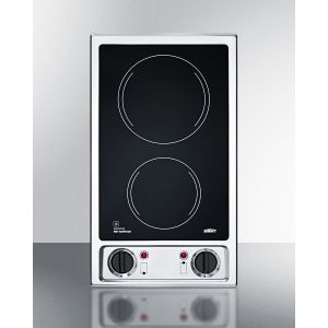 SUMMIT CR2B120 - 115v 2-burner Radiant Cooktop With Smooth Black Ceramic Glass Surface and Preinstalled Cord