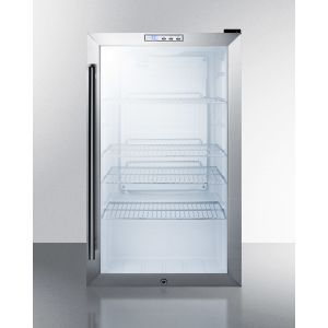SUMMIT SCR486LCSS - Commercial Freestanding Beverage Merchandiser With Glass Door, Stainless Steel Cabinet, Front Lock, and Digital Thermostat