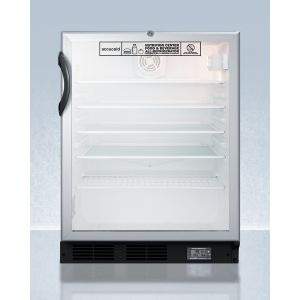 SUMMIT SCR600BGLBINZADA - Commercially Approved ADA Compliant Nutrition Center Series Glass Door All-refrigerator for Built-in or Freestanding Use, With Front Lock and Digital Temperature Display