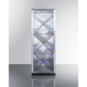 SUMMIT SCR1401LHX - Full-size Commercially Listed Wine Cellar With Stainless Steel Interior, Diamond Style Shelving, Digital Controls, Self-closing Glass Door, and Black Cabinet
