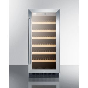 "SUMMIT SWC1535BCSS - 15"" Wide Wine Cellar for Built-in or Freestanding Use, With Stainless Steel Wrapped Cabinet, Glass Door, and Lock"