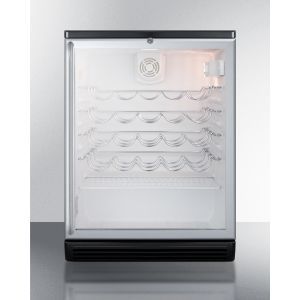 SUMMIT SWC6GBLBISH - Commercially Approved Wine Cellar for Built-in Undercounter Use With Glass Door, Black Cabinet, and Full Stainless Steel Handle