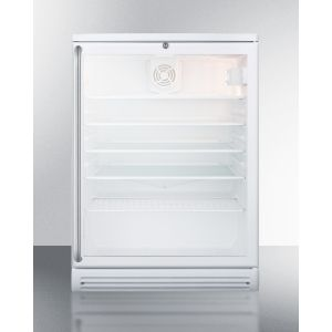 """SUMMIT SCR600GLSH - Commercially Listed 5.5 CU.FT. Counter Height Beverage Center In A 24"""" Footprint, With White Cabinet, Glass Door, Towel Bar Handle, and Lock"""