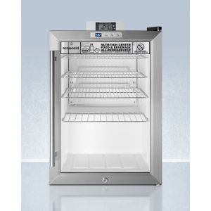 SUMMIT SCR312LNZ - Commercially Approved Compact Nutrition Center Series Glass Door All-refrigerator With Front Lock and Digital Temperature Display