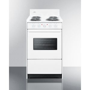"""SUMMIT WEM110W - 20"""" Wide Electric Range In White With Oven Window, Interior Light, and Lower Storage Compartment"""