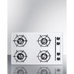 """SUMMIT WNL05P - 30"""" Wide Cooktop In White, With Four Burners and Battery Start Ignition; Replaces Wtl05p"""