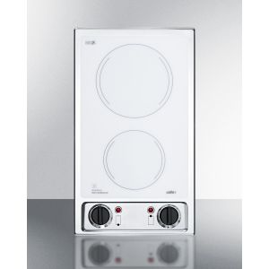 SUMMIT CR2B120WH - 115v 2-burner Radiant Cooktop With Smooth White Ceramic Glass Surface and Preinstalled Cord