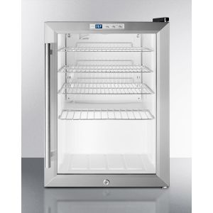 SUMMIT SCR312LBI - Compact Commercial Beverage Center for Built-in or Freestanding Use, With Glass Door and Digital Thermostat