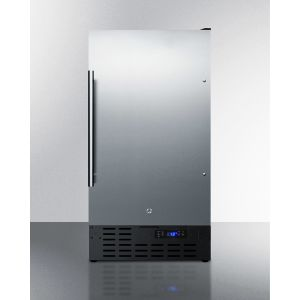 """SUMMIT FF1843BSS - 18"""" Wide Built-in Undercounter All-refrigerator With A Stainless Steel Door, Black Cabinet, Digital Thermostat and Front Lock"""
