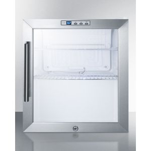 SUMMIT SCR215LBI - Commercially Approved Built-in Capable Glass Door Refrigerator With Digital Thermostat and White Cabinet Finish