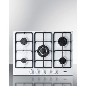 """SUMMIT GC5271W - 5-burner Gas Cooktop Made In Italy In A White Finish With Sealed Burners, Cast Iron Grates, and Wok Stand; Fits Standard 24"""" Wide Cutouts"""
