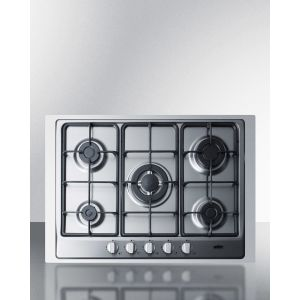"""SUMMIT GC527SSTK30 - 5-burner Gas Cooktop Made In Italy In Stainless Steel Finish With Sealed Burners, Cast Iron Grates, Wok Stand, and Stainless Steel Frame To Allow Installation In 30"""" Wide Counter Openings"""