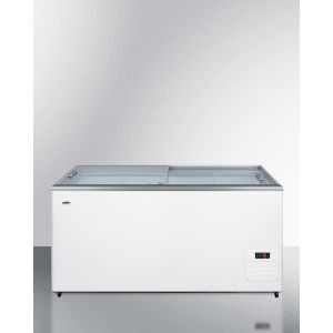 SUMMIT NOVA45 - Flat Top Commercial Ice Cream Freezer With Sliding Glass Lid, Digital Thermostat, Novelty Baskets, and 15 CU.FT. Capacity