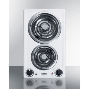 SUMMIT CCE225WH - 230v 2-burner Coil Cooktop In White Porcelain; Made In the USA