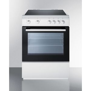 "SUMMIT CLRE24WH - 24"" Wide Smoothtop Electric Range In Slide-in Style and White Finish, With Storage Drawer and Large Oven Window"