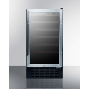 """SUMMIT SWC1840B - 18"""" Wide Wine Cellar for Built-in or Freestanding Use, With Digital Controls, Lock, and LED Lighting"""