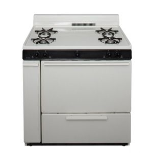 PREMIER BLK100TP - 36 in. Freestanding Battery-Generated Spark Ignition Gas Range in Biscuit