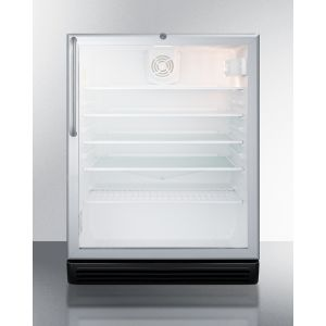 """SUMMIT SCR600BGLCSS - Commercially Listed 5.5 CU.FT. Built-in Undercounter Beverage Center In A 24"""" Footprint, With Stainless Steel Wrapped Cabinet, Glass Door, Towel Bar Handle, and Lock"""