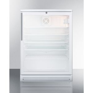 """SUMMIT SCR600GLBIHV - Commercially Listed 5.5 CU.FT. Built-in Undercounter Beverage Center In A 24"""" Footprint, With White Cabinet, Glass Door, Stainless Steel Handle, and Lock"""