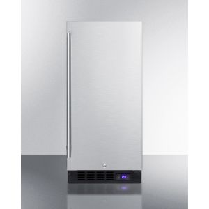 """SUMMIT SCFF1533BSS - 15"""" Wide Frost-free Freezer for Built-in or Freestanding Use, With Reversible Stainless Steel Door and Lock; Replaces Scff1537bss"""