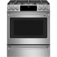 """CAFE C2S900P2MS1 - Caf(eback) 30"""" Slide-In Front Control Dual-Fuel Convection Range with Warming Drawer"""