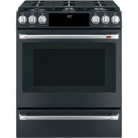 """CAFE C2S900P3MD1 - Caf(eback) 30"""" Slide-In Front Control Dual-Fuel Convection Range with Warming Drawer"""