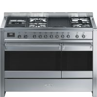 "SMEG A3XU7 - Free-standing Dual Fuel Dual Cavity ""Opera"" Range Approx. 48"" Stainless Steel Gas Rangetop With Electric Grill"